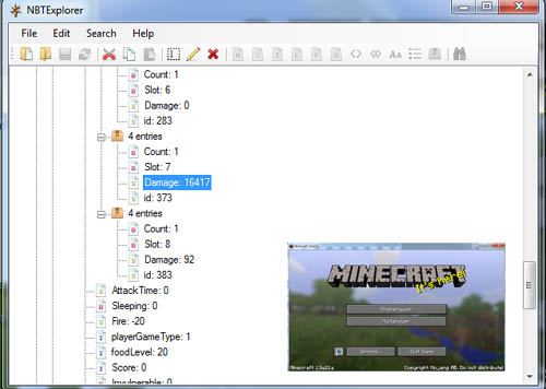 NBTExplorer - Free NBT Minecraft Editor for Maps, Mobs and Items