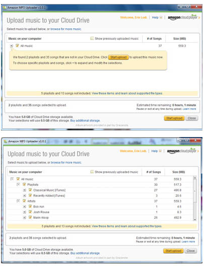 Large screenshot for Amazon MP3 Uploader - Cloud Player Tool