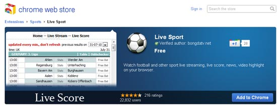 Large screenshot for Chrome Live Sport