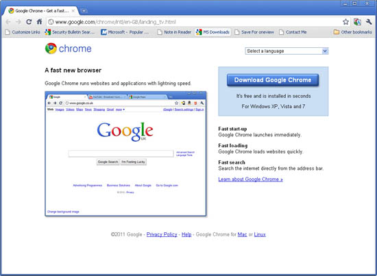 Large screenshot for Google Chrome 10
