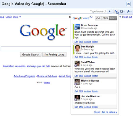 Large screenshot for Google Voice Chrome Extension
