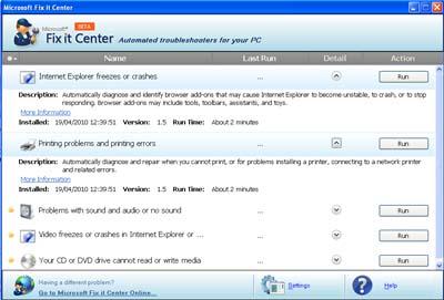 Large screenshot for Microsoft Fix It Center