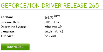 Large screenshot for NVIDIA 2011 Drivers - 265 GeForce