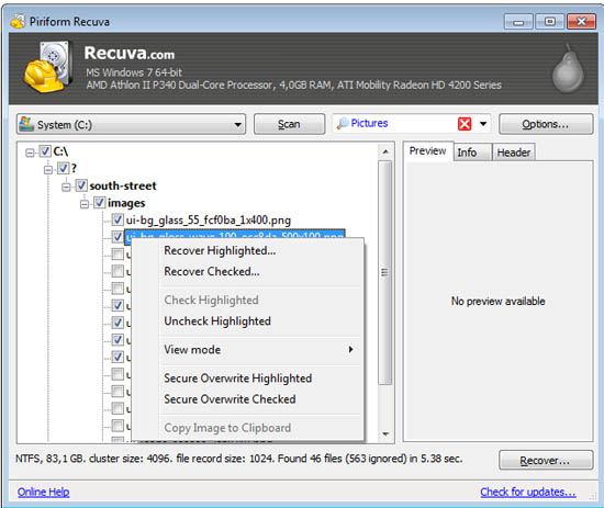 Large screenshot for Recuva 1.4 - Recover and Undelete Deleted Files