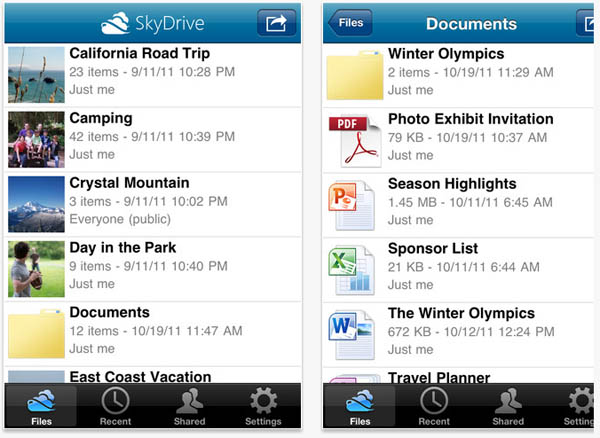 Large screenshot for SkyDrive iPhone App