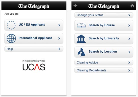 Large screenshot for UCAS University Clearing 2011 App