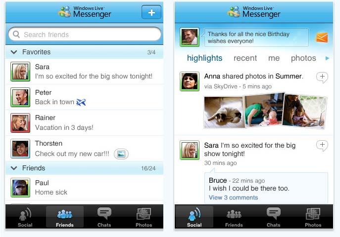 Large screenshot for Windows Live Messenger for iPhone