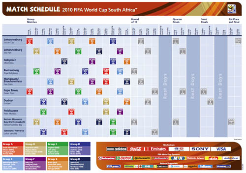 Large screenshot for World Cup 2010 Wall Planner